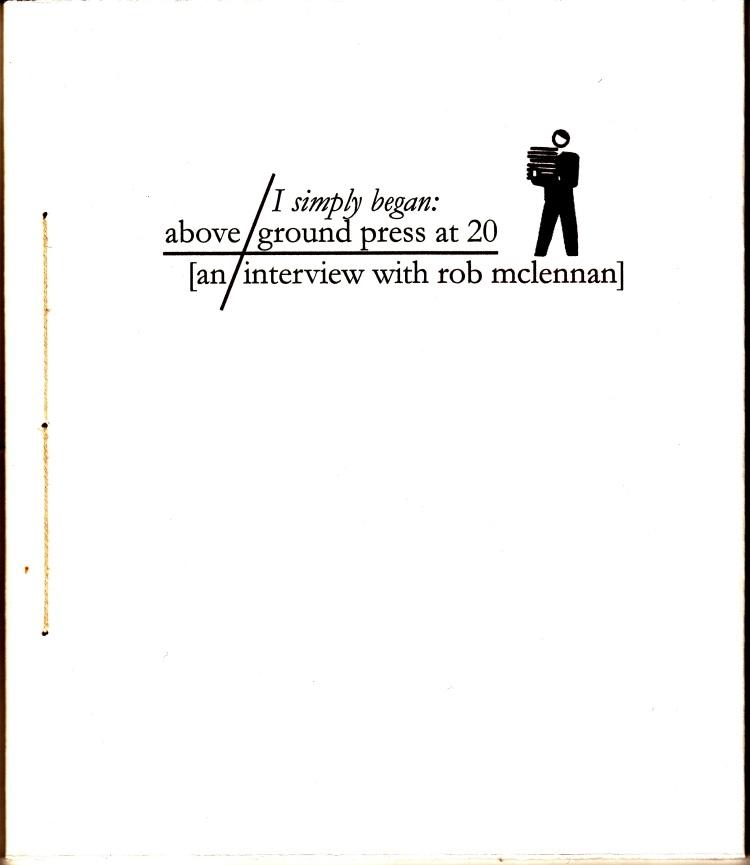 aboveground interview chapbook